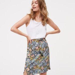 LOFT Floral Skirt Tassel Drawstring Waist Size MP